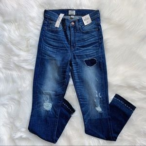 "J. Crew 9"" High-Rise Toothpick Jeans Lassiter Wash"
